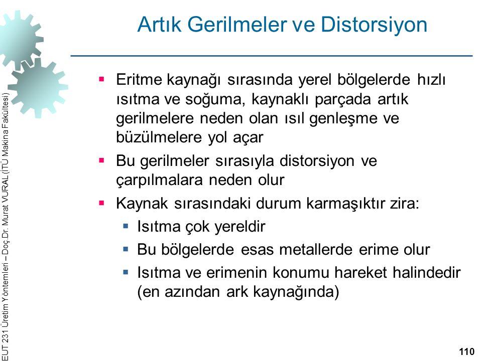EUT 231 Üretim Yöntemleri – Doç.Dr. Murat VURAL (İTÜ Makina Fakültesi) Artık Gerilmeler ve Distorsiyon  Eritme kaynağı sırasında yerel bölgelerde hız