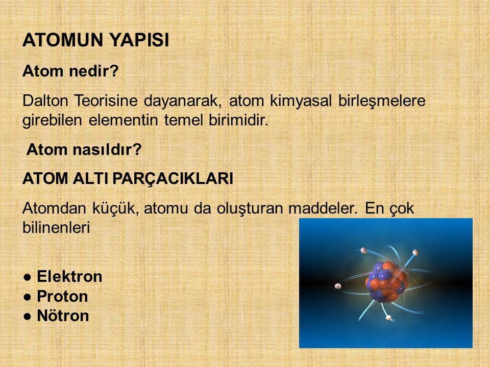 ATOMUN YAPISI Atom nedir? Dalton Teorisine dayanarak, atom kimyasal birleşmelere girebilen elementin temel birimidir. Atom nasıldır? ATOM ALTI PARÇACI