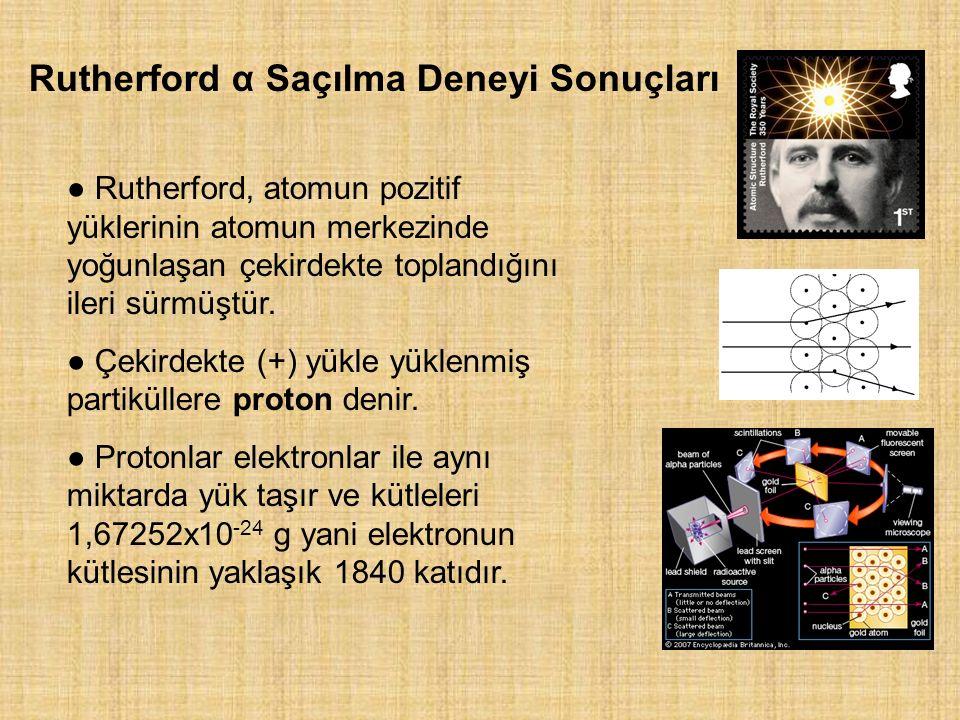 Rutherford α Saçılma Deneyi Sonuçları ● Rutherford, atomun pozitif yüklerinin atomun merkezinde yoğunlaşan çekirdekte toplandığını ileri sürmüştür.