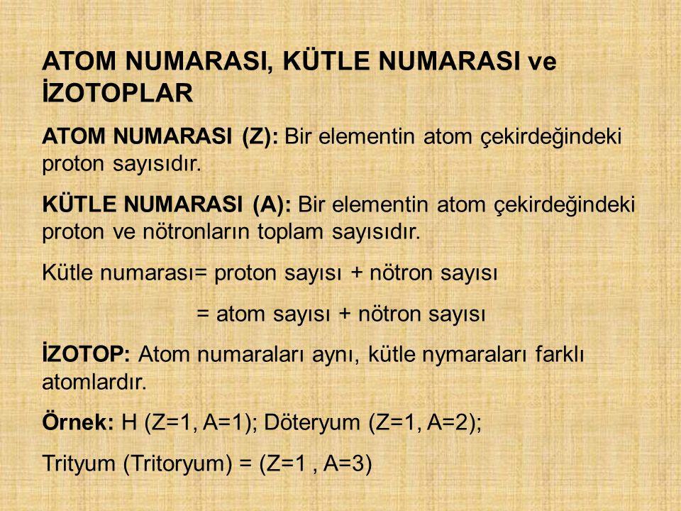 ATOM NUMARASI, KÜTLE NUMARASI ve İZOTOPLAR ATOM NUMARASI (Z): Bir elementin atom çekirdeğindeki proton sayısıdır. KÜTLE NUMARASI (A): Bir elementin at