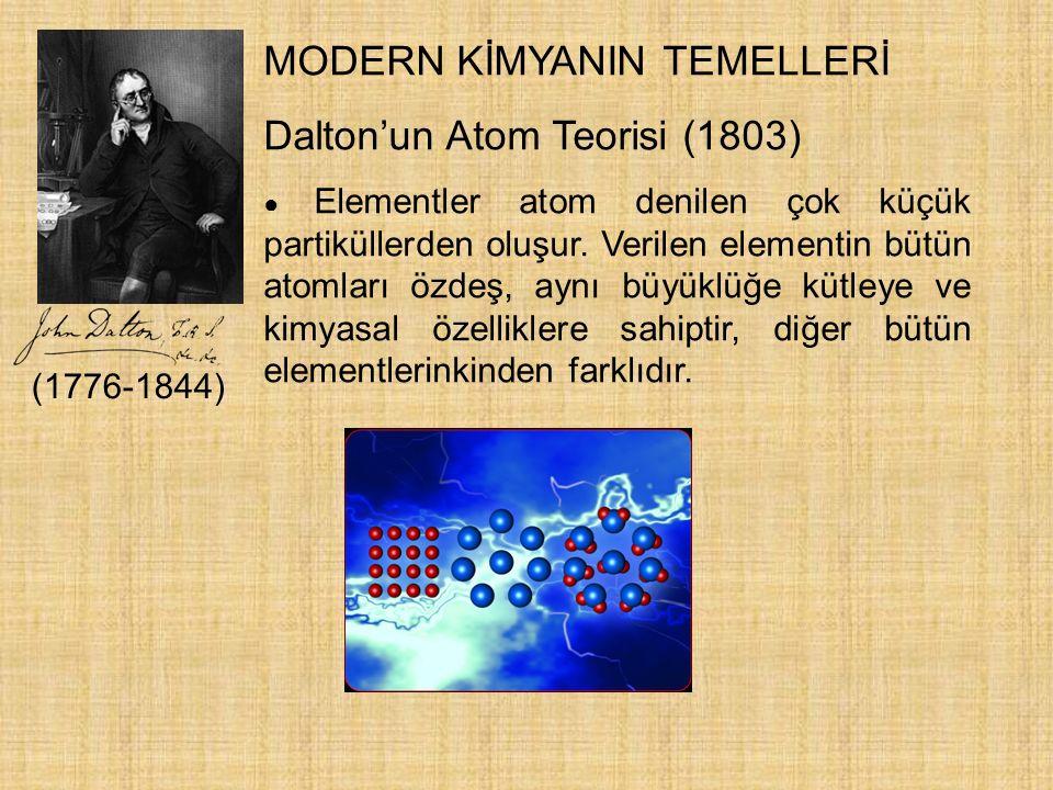 MODERN KİMYANIN TEMELLERİ Dalton'un Atom Teorisi (1803) ● Elementler atom denilen çok küçük partiküllerden oluşur. Verilen elementin bütün atomları öz