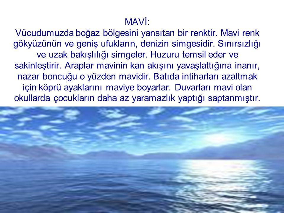MAVİ: Vücudumuzda boğaz bölgesini yansıtan bir renktir. Mavi renk gökyüzünün ve geniş ufukların, denizin simgesidir. Sınırsızlığı ve uzak bakışlılığı