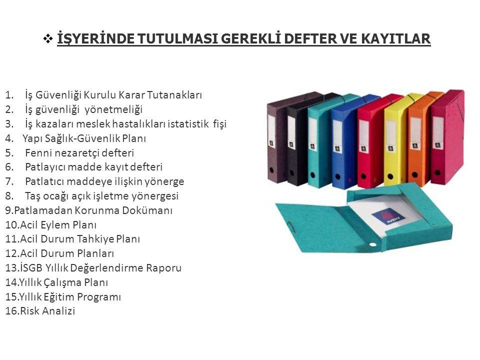  İŞYERİNDE TUTULMASI GEREKLİ DEFTER VE KAYITLAR 1.