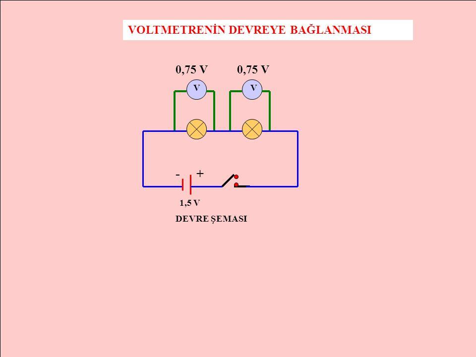 VOLTMETRENİN DEVREYE BAĞLANMASI V - + 1,5 V