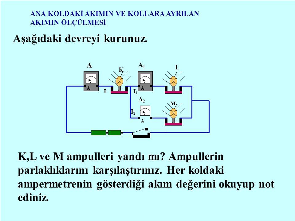 AMPERMETRENİN DEVREYE BAĞLANMASI A DEVRE ŞEMASI - + Şekilde basit bir elektrik devresi ve ampermetrenin devreye bağlanışı görülmektedir.