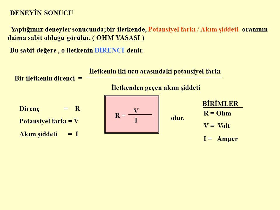 Ölçülen değerlerin birbiri ile olan ilişkisini bir grafikte gösterelim V 4 V 3 V 2 V 1 I 1 I 2 I 3 I 4 V ( Volt ) I ( Amper ) Grafikte potansiyel farkı düşey,akım şiddeti ise yatay eksende gösterilmiştir.