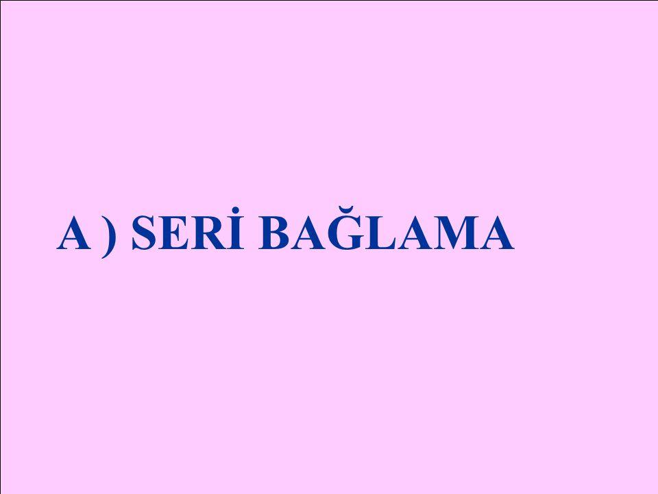 DİRENÇLERİN BAĞLANMASI A ) SERİ BAĞLANMASI B ) PARALEL BAĞLANMASI C ) KARIŞIK BAĞLANMASI