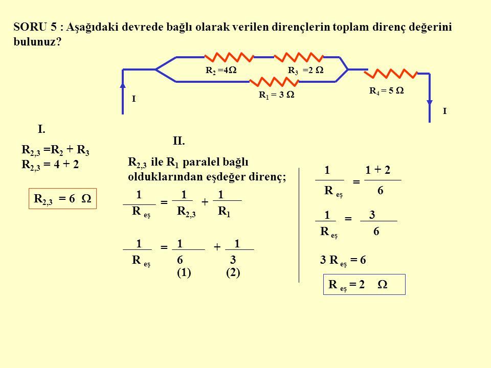 C ) DİRENÇLERİN KARIŞIK BAĞLANMASI Bir elektrik devresinde; dirençler hem seri hem de paralel bağlanmış olarak karışık halde bulunabilir.