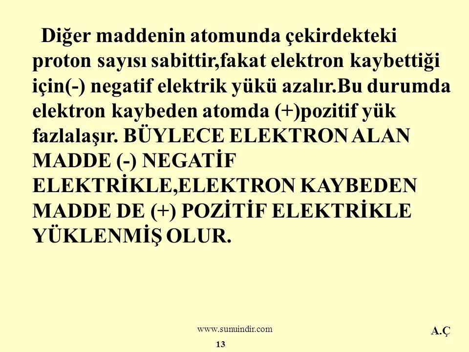 www.sunuindir.com Bazı maddeler başka maddelerden elektron alma eğilimindedir.Bu tür maddeyi bir başka maddeye sürtelim.Sürtme sırasında atomların en dışındaki elektronlar kolayca bir maddeden koparak diğerine geçerler.Böyle olunca her iki maddenin atomlarında elektrik yükü eşitliği bozulur.