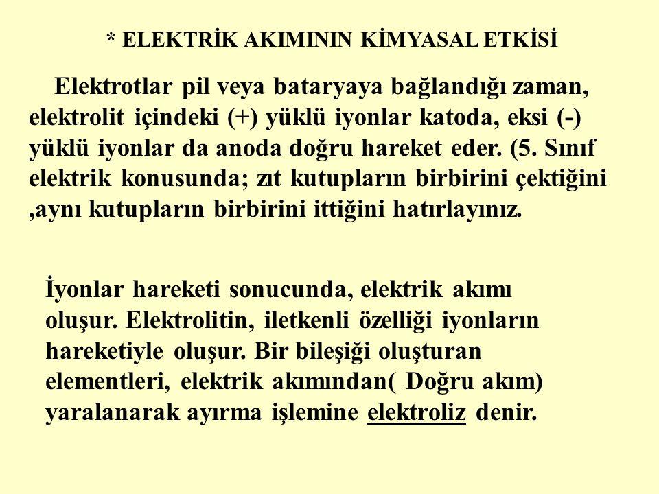 * ELEKTRİK AKIMININ KİMYASAL ETKİSİ Katot -Anot + + + - - Elektrot Tuzlu su elektrik akımını iletir.