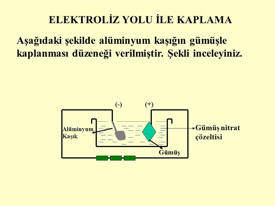 Elektrotlara akım verilince, bir süre sonra katoda asılan kaplanacak olan metalin üzeri, ince bir tabaka ile kaplanır.