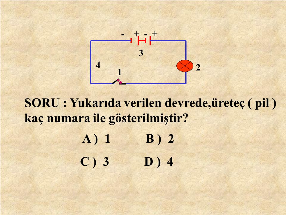 Elektron Akımının Yönü Elektrik Akımının Yönü +- Anahtar 1 pil ELEKTRİK DEVRESİNDE ELEKTRON AKIMININ YÖNÜ İLE ELEKTRİK AKIMININ YÖNÜ