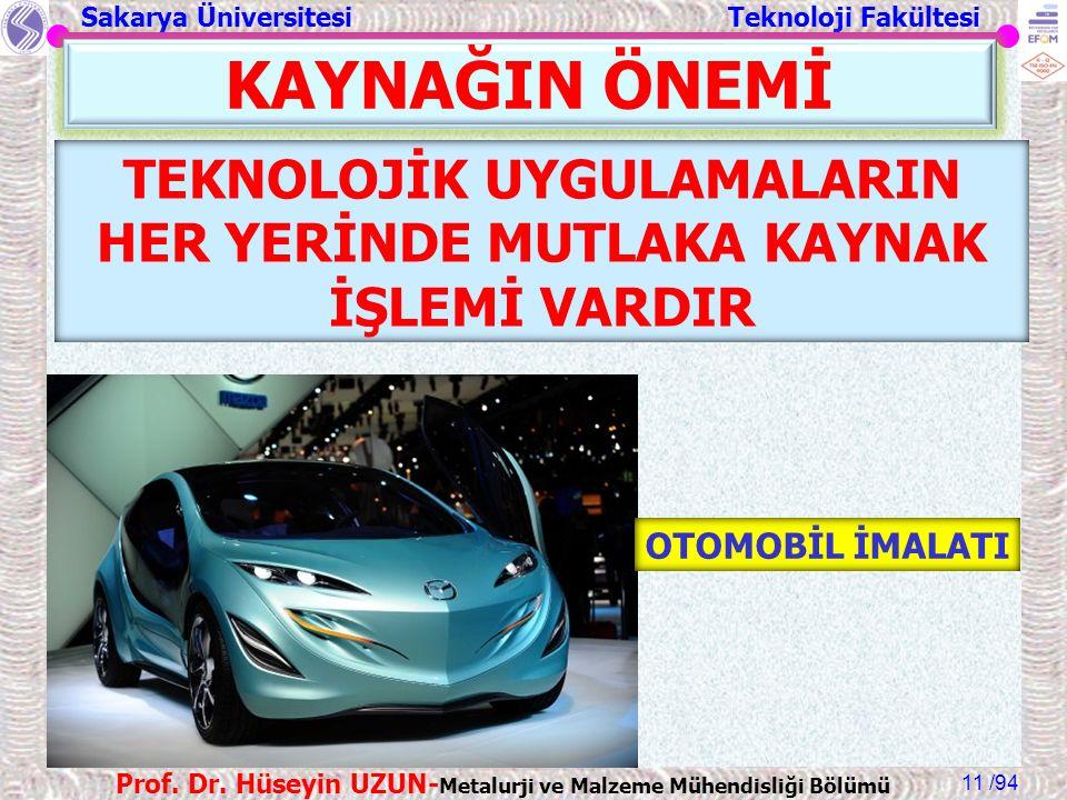 Sakarya Üniversitesi Teknoloji Fakültesi /94 Prof. Dr. Hüseyin UZUN- Metalurji ve Malzeme Mühendisliği Bölümü 11 KAYNAĞIN ÖNEMİ TEKNOLOJİK UYGULAMALAR