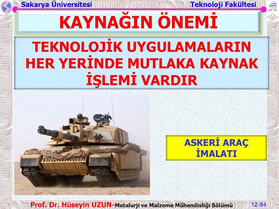 Sakarya Üniversitesi Teknoloji Fakültesi /94 Prof. Dr. Hüseyin UZUN- Metalurji ve Malzeme Mühendisliği Bölümü 12 KAYNAĞIN ÖNEMİ TEKNOLOJİK UYGULAMALAR