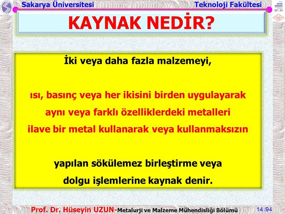 Sakarya Üniversitesi Teknoloji Fakültesi /94 Prof. Dr. Hüseyin UZUN- Metalurji ve Malzeme Mühendisliği Bölümü 14 KAYNAK NEDİR? İki veya daha fazla mal