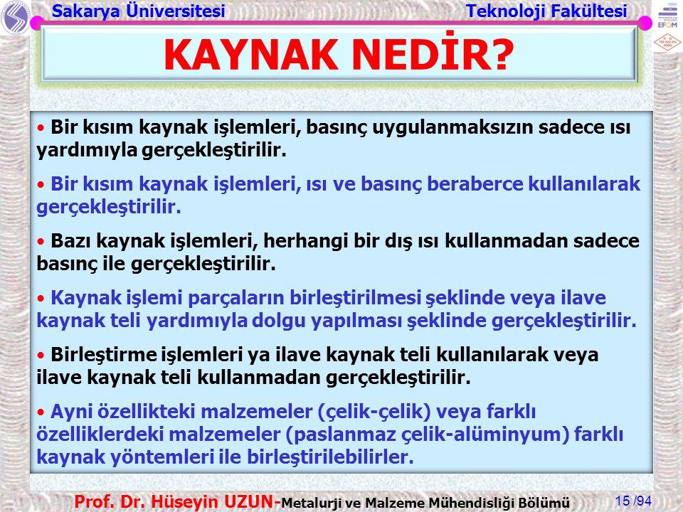 Sakarya Üniversitesi Teknoloji Fakültesi /94 Prof. Dr. Hüseyin UZUN- Metalurji ve Malzeme Mühendisliği Bölümü 15 KAYNAK NEDİR? Bir kısım kaynak işleml