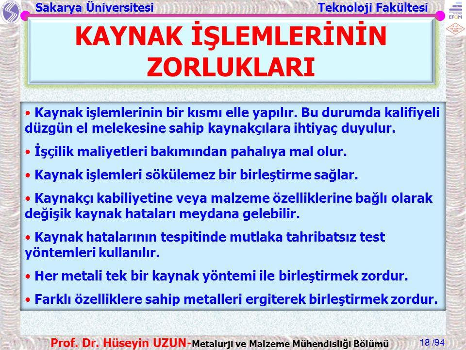 Sakarya Üniversitesi Teknoloji Fakültesi /94 Prof. Dr. Hüseyin UZUN- Metalurji ve Malzeme Mühendisliği Bölümü 18 KAYNAK İŞLEMLERİNİN ZORLUKLARI Kaynak
