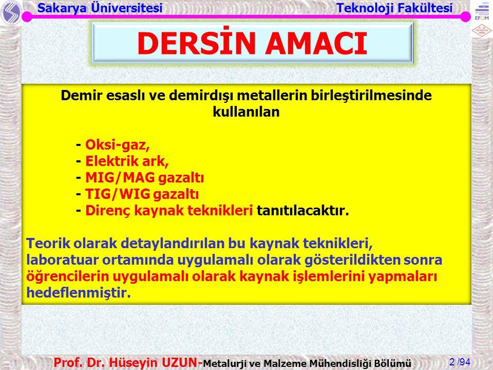 Sakarya Üniversitesi Teknoloji Fakültesi /94 Prof. Dr. Hüseyin UZUN- Metalurji ve Malzeme Mühendisliği Bölümü 2 DERSİN AMACI Demir esaslı ve demirdışı