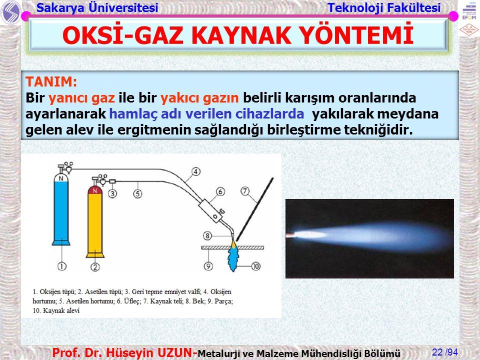 Sakarya Üniversitesi Teknoloji Fakültesi /94 Prof. Dr. Hüseyin UZUN- Metalurji ve Malzeme Mühendisliği Bölümü 22 OKSİ-GAZ KAYNAK YÖNTEMİ TANIM: Bir ya