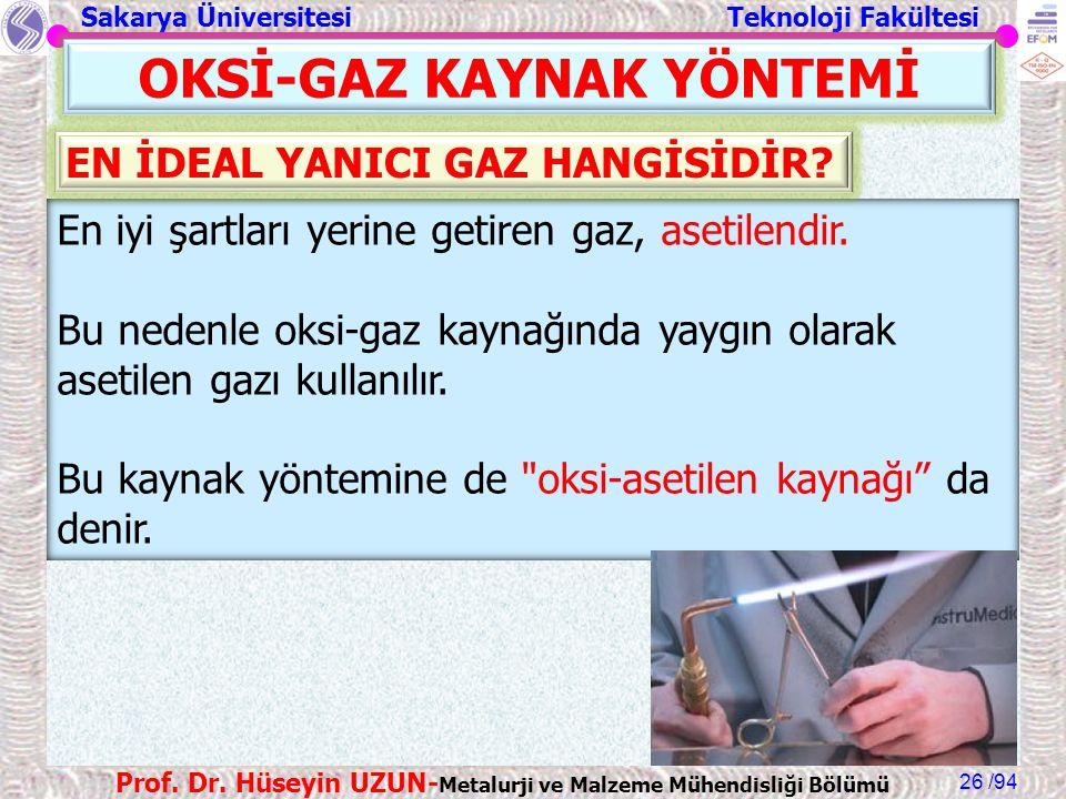 Sakarya Üniversitesi Teknoloji Fakültesi /94 Prof. Dr. Hüseyin UZUN- Metalurji ve Malzeme Mühendisliği Bölümü 26 En iyi şartları yerine getiren gaz, a