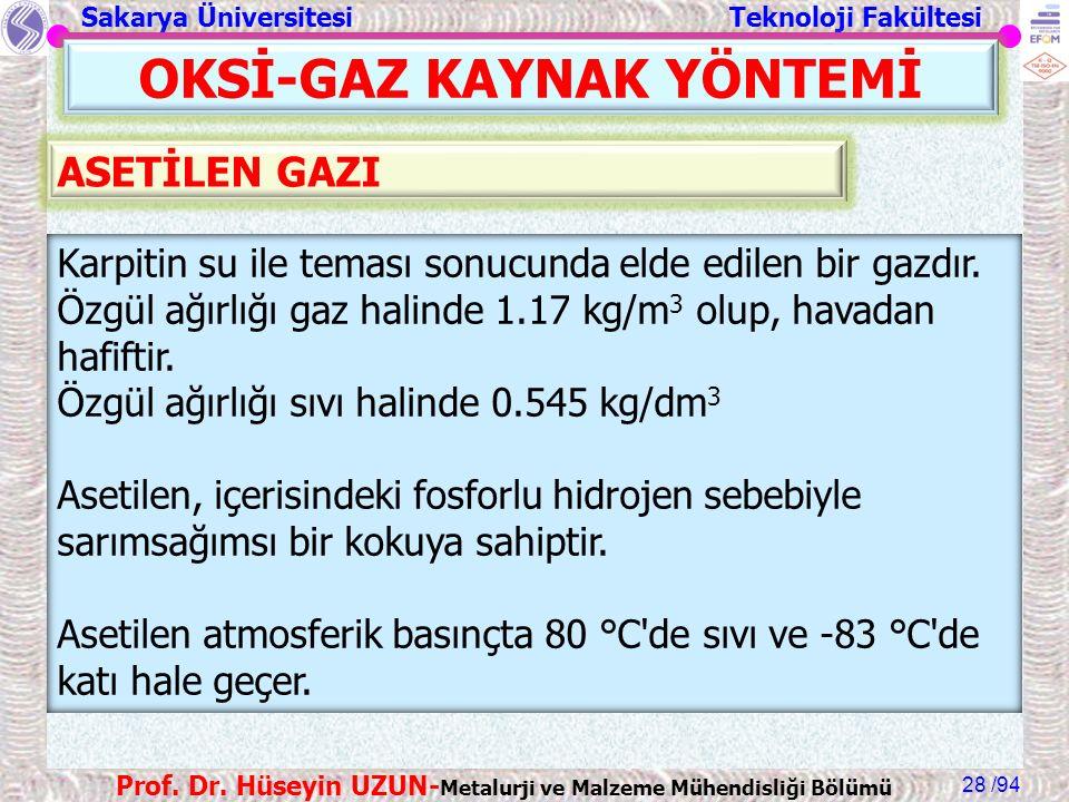 Sakarya Üniversitesi Teknoloji Fakültesi /94 Prof. Dr. Hüseyin UZUN- Metalurji ve Malzeme Mühendisliği Bölümü 28 OKSİ-GAZ KAYNAK YÖNTEMİ Karpitin su i