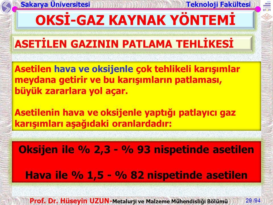 Sakarya Üniversitesi Teknoloji Fakültesi /94 Prof. Dr. Hüseyin UZUN- Metalurji ve Malzeme Mühendisliği Bölümü 29 OKSİ-GAZ KAYNAK YÖNTEMİ Asetilen hava