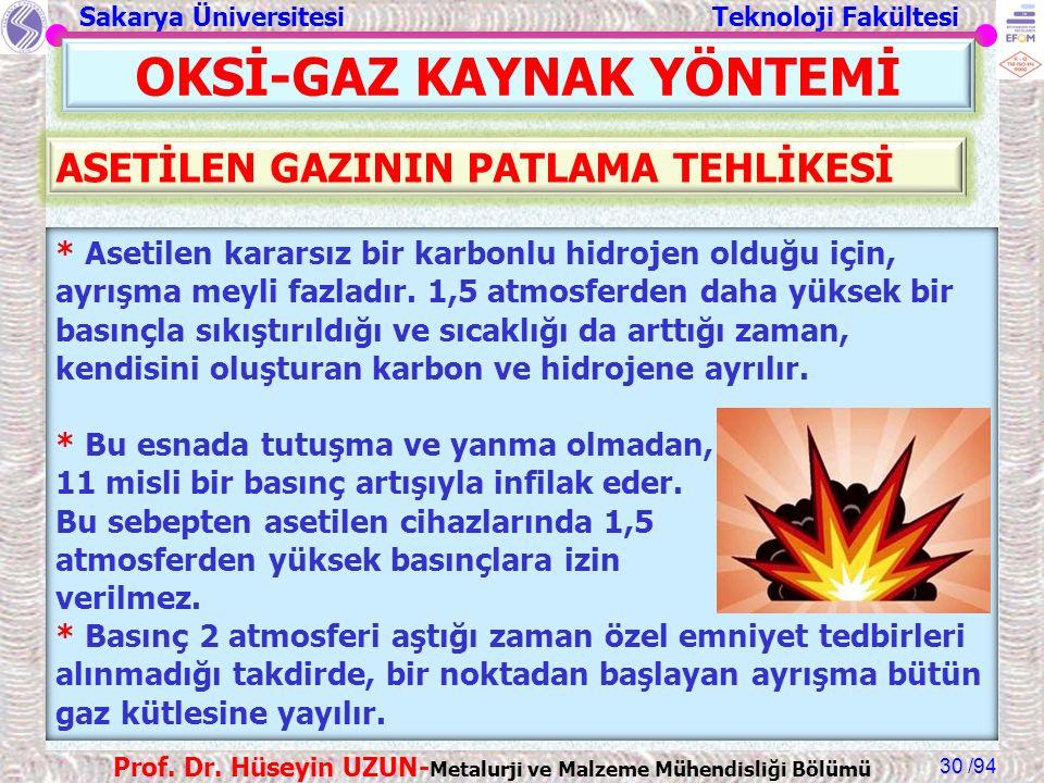 Sakarya Üniversitesi Teknoloji Fakültesi /94 Prof. Dr. Hüseyin UZUN- Metalurji ve Malzeme Mühendisliği Bölümü 30 OKSİ-GAZ KAYNAK YÖNTEMİ * Asetilen ka