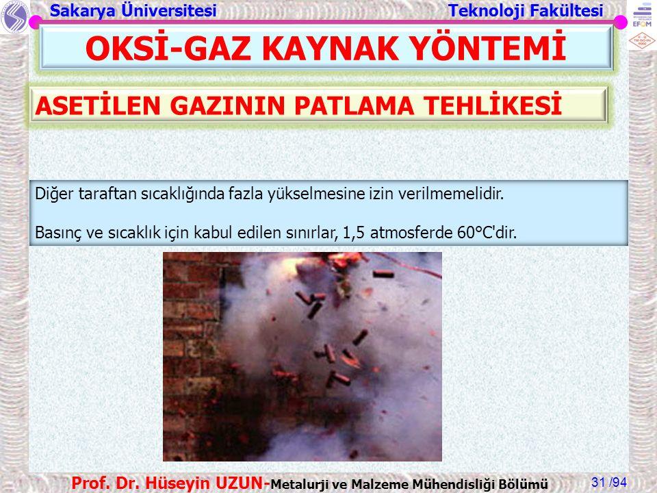 Sakarya Üniversitesi Teknoloji Fakültesi /94 Prof. Dr. Hüseyin UZUN- Metalurji ve Malzeme Mühendisliği Bölümü 31 OKSİ-GAZ KAYNAK YÖNTEMİ Diğer tarafta
