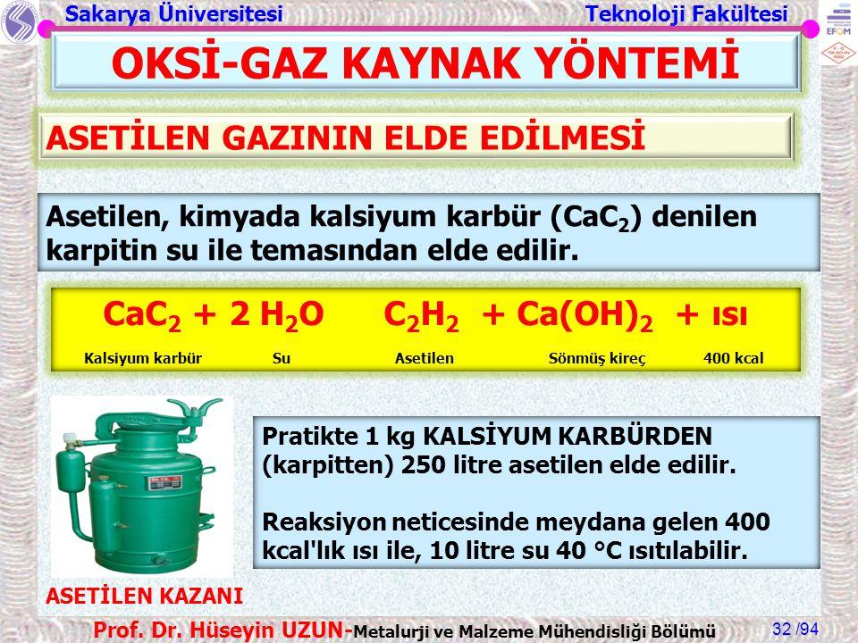 Sakarya Üniversitesi Teknoloji Fakültesi /94 Prof. Dr. Hüseyin UZUN- Metalurji ve Malzeme Mühendisliği Bölümü 32 OKSİ-GAZ KAYNAK YÖNTEMİ Asetilen, kim