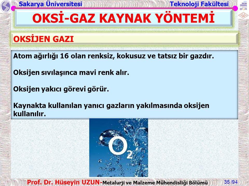 Sakarya Üniversitesi Teknoloji Fakültesi /94 Prof. Dr. Hüseyin UZUN- Metalurji ve Malzeme Mühendisliği Bölümü 35 OKSİ-GAZ KAYNAK YÖNTEMİ Atom ağırlığı