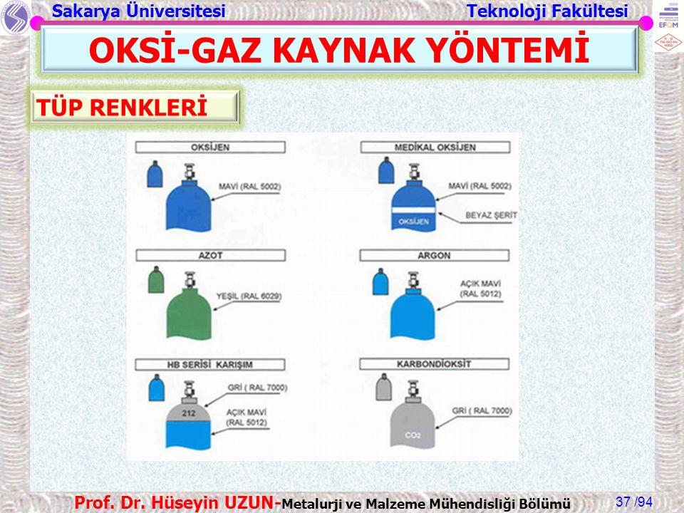 Sakarya Üniversitesi Teknoloji Fakültesi /94 Prof. Dr. Hüseyin UZUN- Metalurji ve Malzeme Mühendisliği Bölümü 37 OKSİ-GAZ KAYNAK YÖNTEMİ TÜP RENKLERİ
