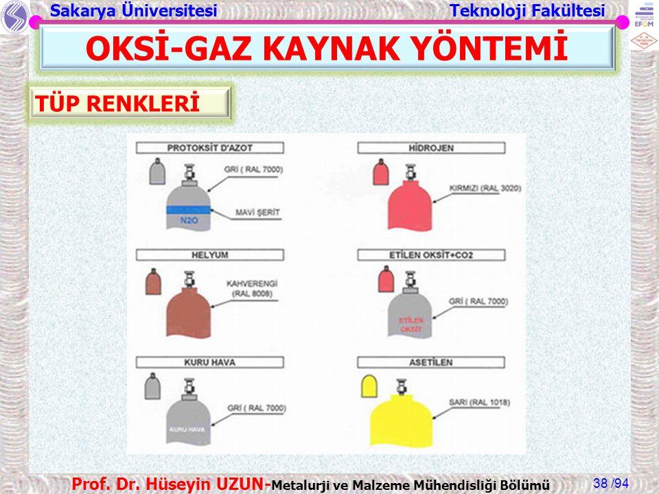 Sakarya Üniversitesi Teknoloji Fakültesi /94 Prof. Dr. Hüseyin UZUN- Metalurji ve Malzeme Mühendisliği Bölümü 38 OKSİ-GAZ KAYNAK YÖNTEMİ TÜP RENKLERİ