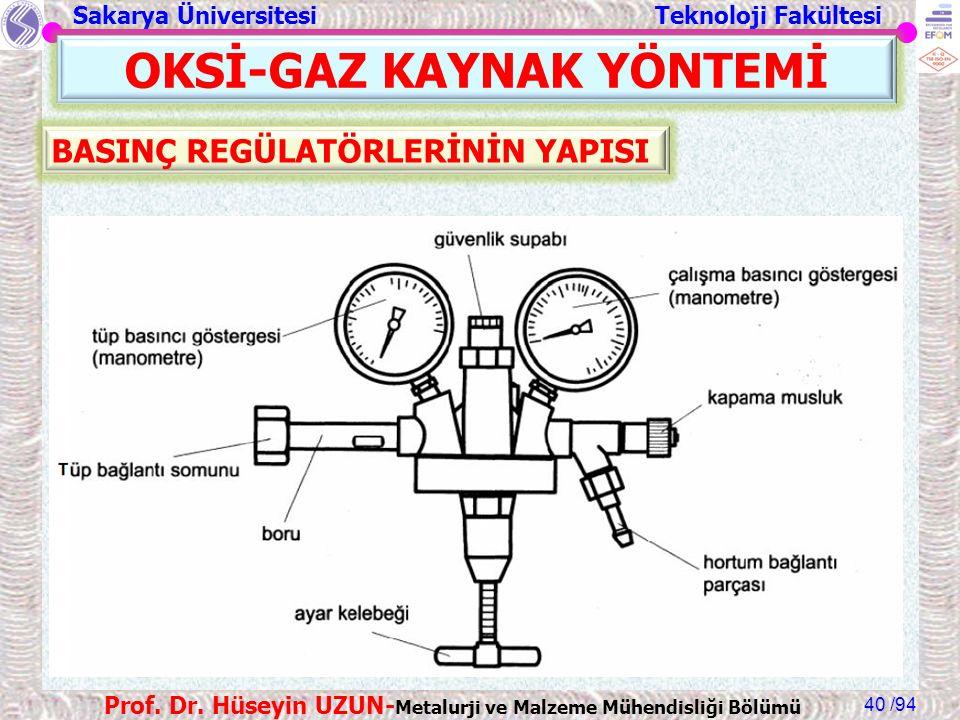 Sakarya Üniversitesi Teknoloji Fakültesi /94 Prof. Dr. Hüseyin UZUN- Metalurji ve Malzeme Mühendisliği Bölümü 40 OKSİ-GAZ KAYNAK YÖNTEMİ BASINÇ REGÜLA