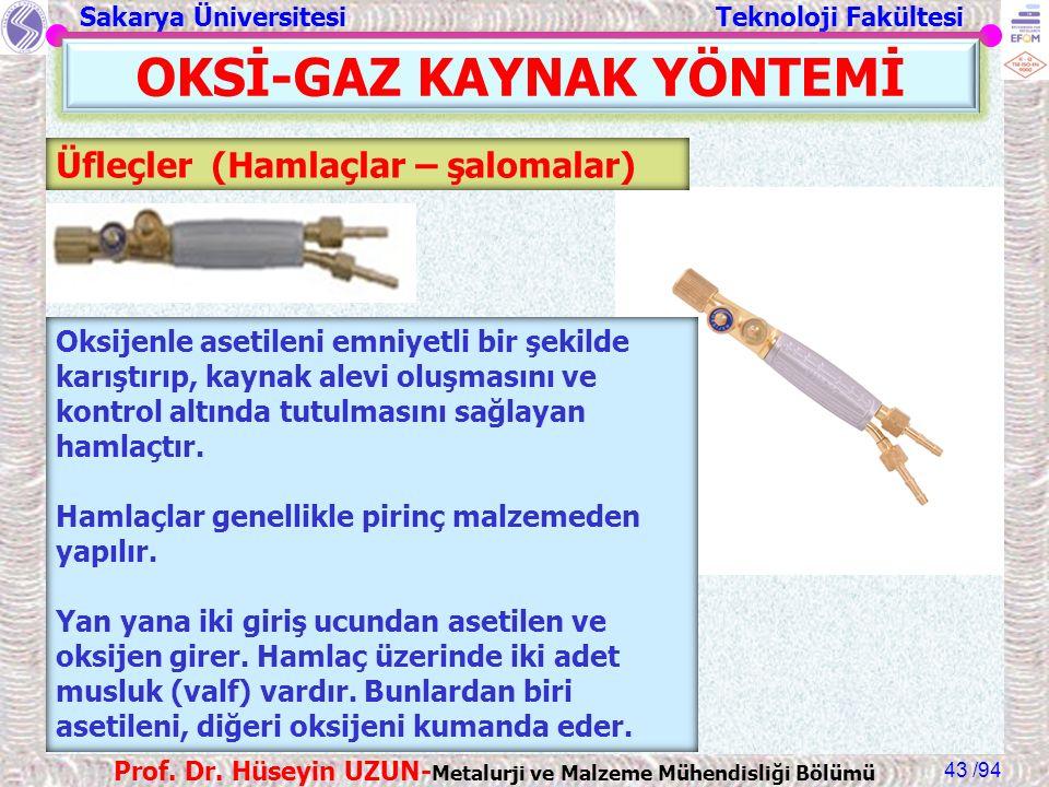 Sakarya Üniversitesi Teknoloji Fakültesi /94 Prof. Dr. Hüseyin UZUN- Metalurji ve Malzeme Mühendisliği Bölümü 43 OKSİ-GAZ KAYNAK YÖNTEMİ Üfleçler (Ham