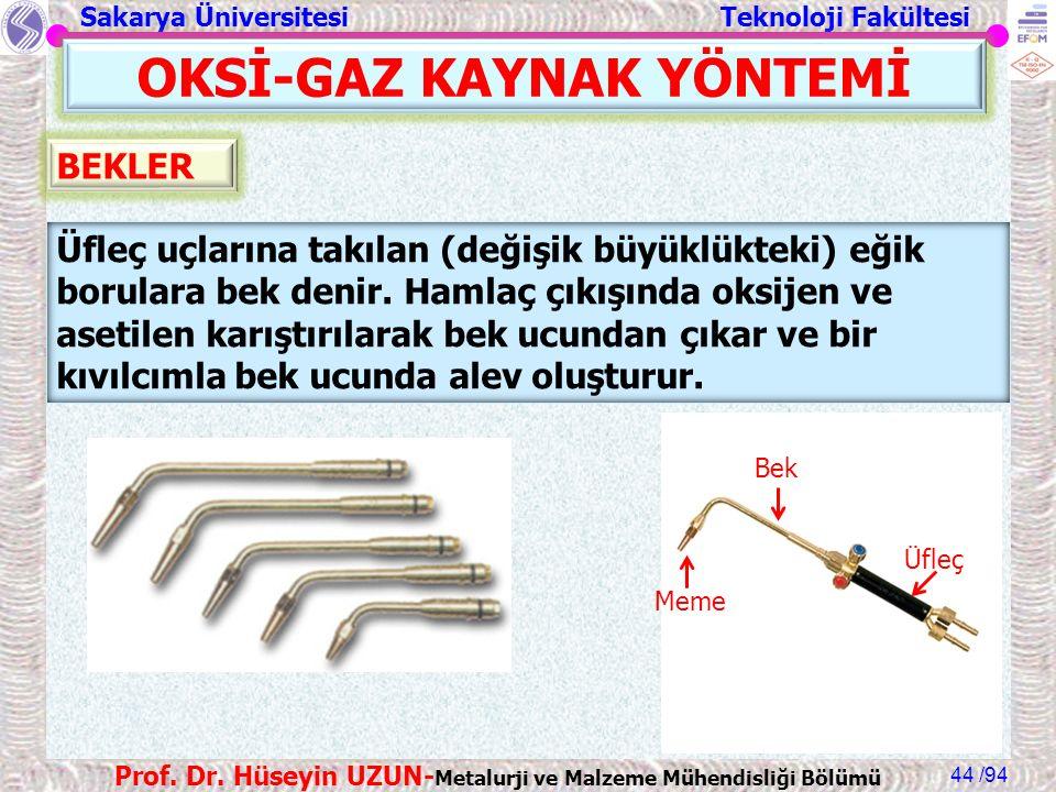 Sakarya Üniversitesi Teknoloji Fakültesi /94 Prof. Dr. Hüseyin UZUN- Metalurji ve Malzeme Mühendisliği Bölümü 44 OKSİ-GAZ KAYNAK YÖNTEMİ Üfleç uçların