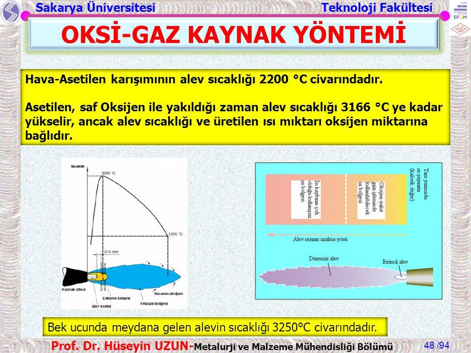 Sakarya Üniversitesi Teknoloji Fakültesi /94 Prof. Dr. Hüseyin UZUN- Metalurji ve Malzeme Mühendisliği Bölümü 48 OKSİ-GAZ KAYNAK YÖNTEMİ Hava-Asetilen