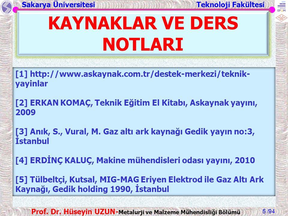 Sakarya Üniversitesi Teknoloji Fakültesi /94 Prof. Dr. Hüseyin UZUN- Metalurji ve Malzeme Mühendisliği Bölümü 5 KAYNAKLAR VE DERS NOTLARI [1] http://w