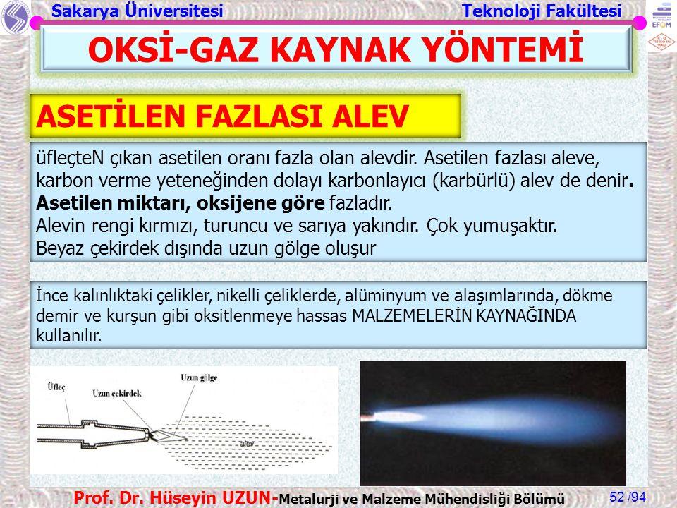 Sakarya Üniversitesi Teknoloji Fakültesi /94 Prof. Dr. Hüseyin UZUN- Metalurji ve Malzeme Mühendisliği Bölümü 52 OKSİ-GAZ KAYNAK YÖNTEMİ ASETİLEN FAZL