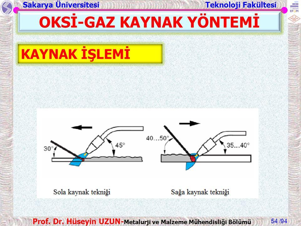 Sakarya Üniversitesi Teknoloji Fakültesi /94 Prof. Dr. Hüseyin UZUN- Metalurji ve Malzeme Mühendisliği Bölümü 54 OKSİ-GAZ KAYNAK YÖNTEMİ KAYNAK İŞLEMİ