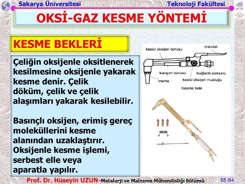 Sakarya Üniversitesi Teknoloji Fakültesi /94 Prof. Dr. Hüseyin UZUN- Metalurji ve Malzeme Mühendisliği Bölümü 55 OKSİ-GAZ KESME YÖNTEMİ KESME BEKLERİ