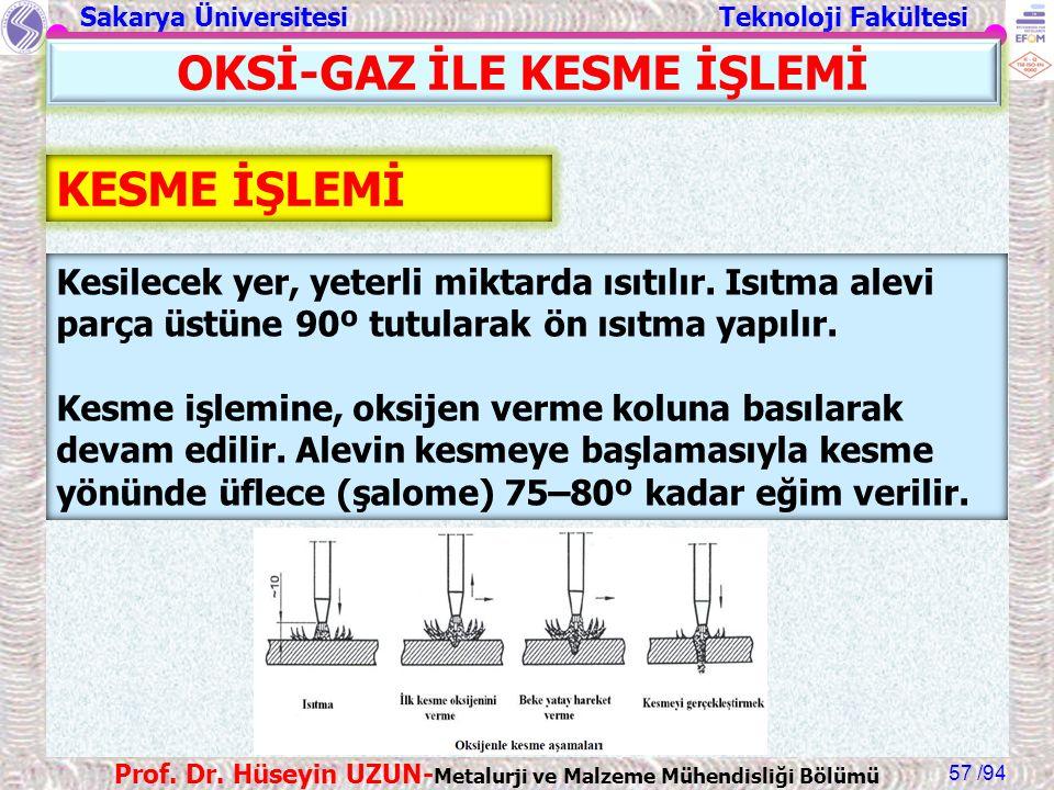 Sakarya Üniversitesi Teknoloji Fakültesi /94 Prof. Dr. Hüseyin UZUN- Metalurji ve Malzeme Mühendisliği Bölümü 57 KESME İŞLEMİ Kesilecek yer, yeterli m
