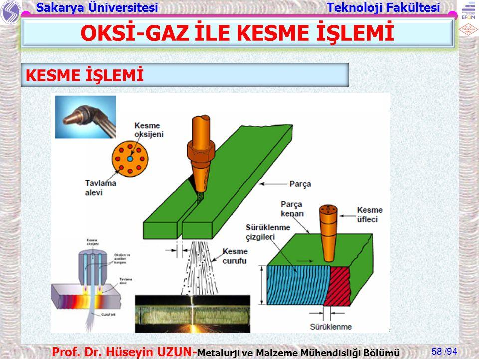 Sakarya Üniversitesi Teknoloji Fakültesi /94 Prof. Dr. Hüseyin UZUN- Metalurji ve Malzeme Mühendisliği Bölümü 58 KESME İŞLEMİ OKSİ-GAZ İLE KESME İŞLEM