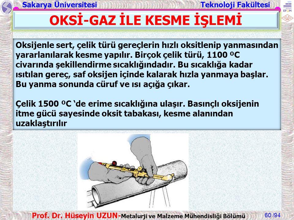 Sakarya Üniversitesi Teknoloji Fakültesi /94 Prof. Dr. Hüseyin UZUN- Metalurji ve Malzeme Mühendisliği Bölümü 60 Oksijenle sert, çelik türü gereçlerin