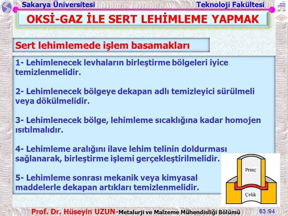 Sakarya Üniversitesi Teknoloji Fakültesi /94 Prof. Dr. Hüseyin UZUN- Metalurji ve Malzeme Mühendisliği Bölümü 63 OKSİ-GAZ İLE SERT LEHİMLEME YAPMAK Se