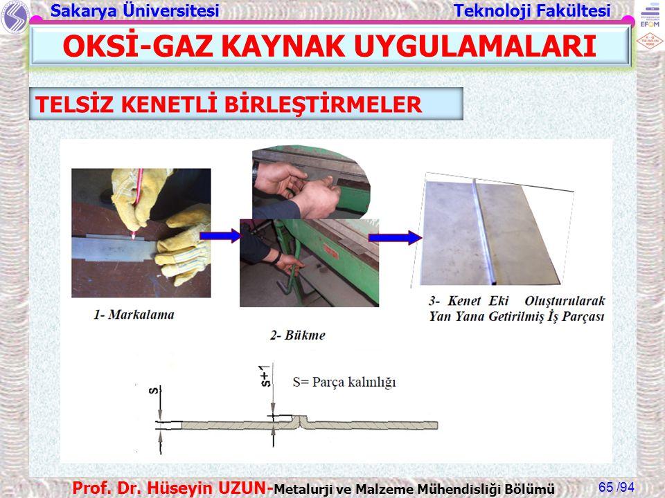 Sakarya Üniversitesi Teknoloji Fakültesi /94 Prof. Dr. Hüseyin UZUN- Metalurji ve Malzeme Mühendisliği Bölümü 65 OKSİ-GAZ KAYNAK UYGULAMALARI TELSİZ K