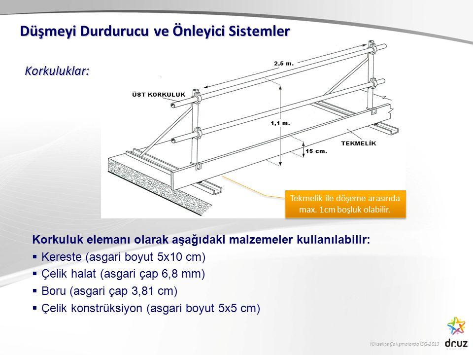 Yüksekte Çalışmalarda İSG-2013 Korkuluklar: Düşmeyi Durdurucu ve Önleyici Sistemler Korkuluk elemanı olarak aşağıdaki malzemeler kullanılabilir:  Ker