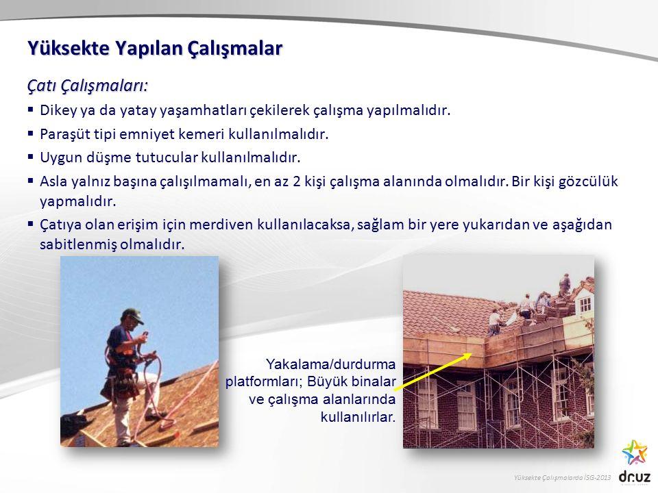 Yüksekte Çalışmalarda İSG-2013 Çatı Çalışmaları:  Dikey ya da yatay yaşamhatları çekilerek çalışma yapılmalıdır.  Paraşüt tipi emniyet kemeri kullan