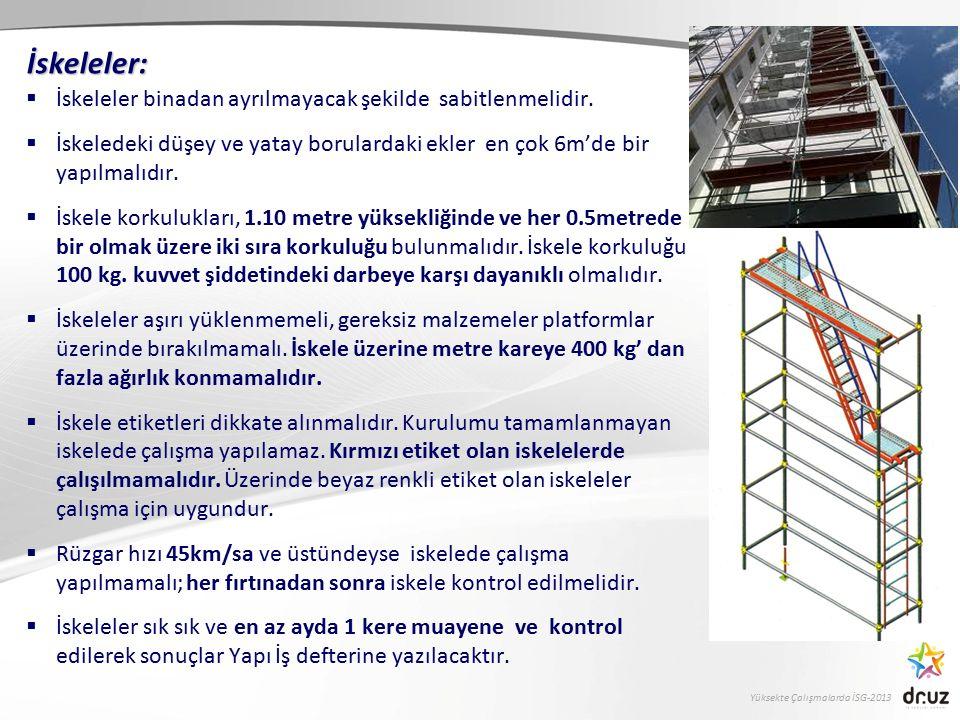 Yüksekte Çalışmalarda İSG-2013  İskeleler binadan ayrılmayacak şekilde sabitlenmelidir.  İskeledeki düşey ve yatay borulardaki ekler en çok 6m'de bi