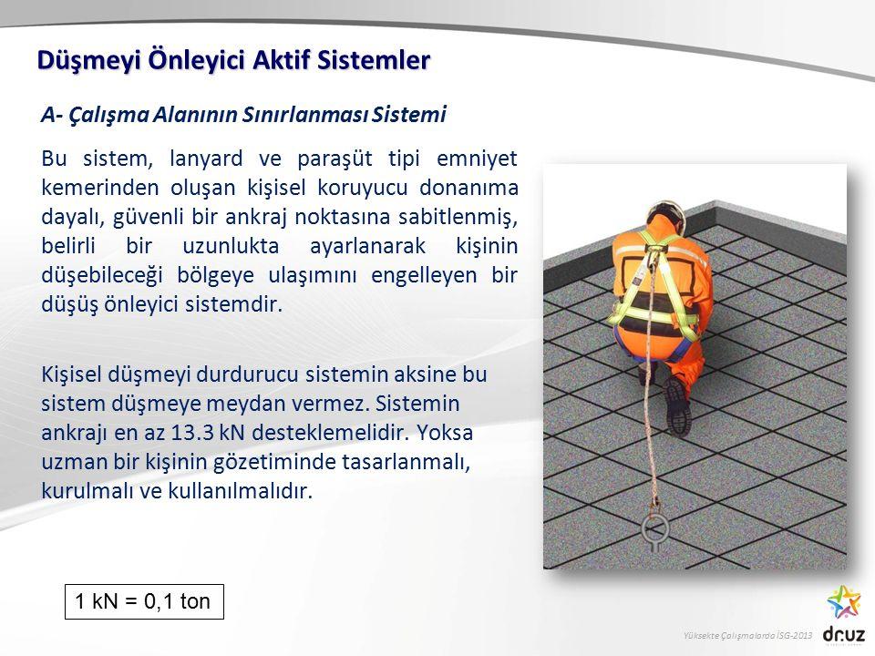 Yüksekte Çalışmalarda İSG-2013 A- Çalışma Alanının Sınırlanması Sistemi Bu sistem, lanyard ve paraşüt tipi emniyet kemerinden oluşan kişisel koruyucu