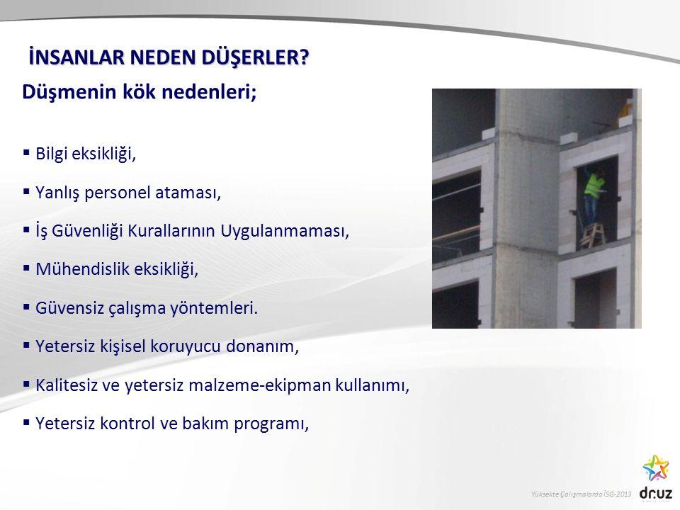 Yüksekte Çalışmalarda İSG-2013 Düşmenin kök nedenleri;  Bilgi eksikliği,  Yanlış personel ataması,  İş Güvenliği Kurallarının Uygulanmaması,  Mühe